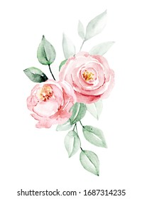 Flowers watercolor painting, pink roses bouquet for greeting card, invitation, poster, wedding decoration and other printing images. Illustration isolated on white.