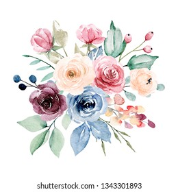 Flowers watercolor peonies, roses, leaf.  Hand drawing floral design. Bouquet perfectly for holiday, wedding, greeting card and invitation. Isolated on white.
