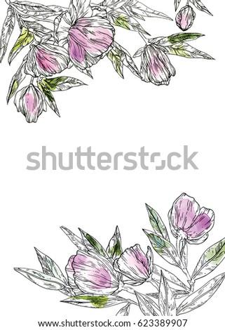 flowers wedding invitation template insert text stock illustration