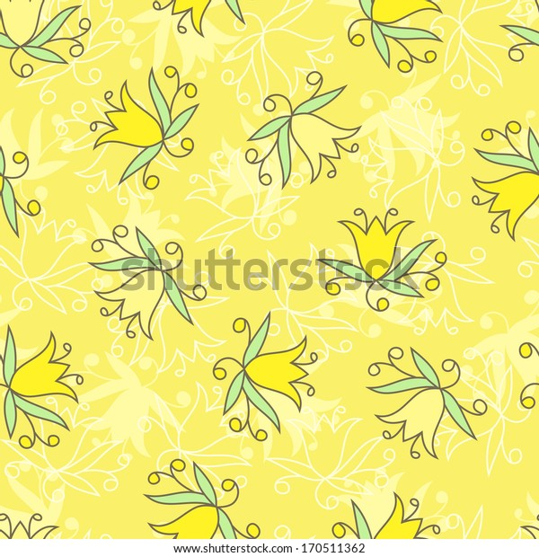 Flowers. Yellow floral seamless pattern.