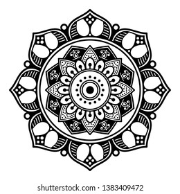 Flower-shaped mandala for coloring page