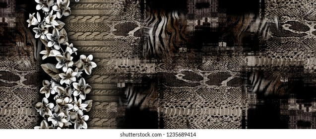 Flowers,knitwear texture, tiger fur and snake skin pattern