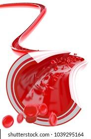 Flowing blood cells - 3D Rendering