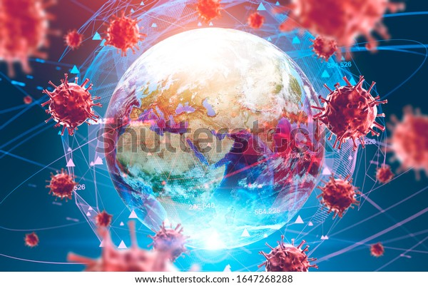 Flu ncov coronavirus over Earth background and its blurry hologram. Concept of cure search and spreading disease. 3d rendering toned image. Elements of this image furnished by NASA
