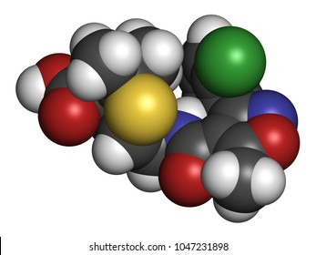 Flucloxacillin (floxacillin) antibiotic drug molecule. 3D rendering. Atoms are represented as spheres with conventional color coding: hydrogen (white), carbon (grey), nitrogen (blue), oxygen (red),...