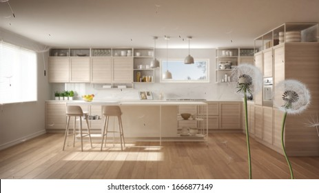 Fluffy airy dandelion with blowing seeds spores over white and wooden kitchen with island, stools and parquet floor. Interior design idea. Change, growth, movement and freedom concept, 3d illustration