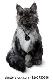 Fluffy Maine Coon gray-white color. Watercolor painting