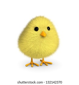 A fluffy yellow chick isolated on a white background (3D render)