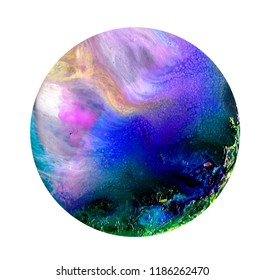 Fluid art in a petri dish. Colorful alcohol, ink, Living colorful bacteria in a petri dish.