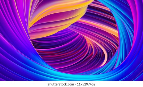 Fluid flow abstract holographic ultra violet neon background. For trendy abstract covers and backgrounds. Shiny wrapping foil. Twisted shape in motion. 3D rendering.