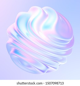 Fluid shape design element with waves and ripples. Holographic bright iridescent gradient shape for trendy design. 3d rendering.