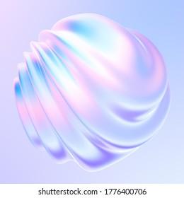 Elemento de diseño de forma fluida con ondas y ondas. Forma de gradiente iridiscente holográfico brillante para el diseño de moda. 3 quinquies de representación.