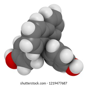 Fluorene-9-bisphenol (BHPF) molecule. Used as alternative to bisphenol A (BPA) but found to be endocrine disruptor as well. 3D rendering. Atoms are represented as spheres with conventional color.