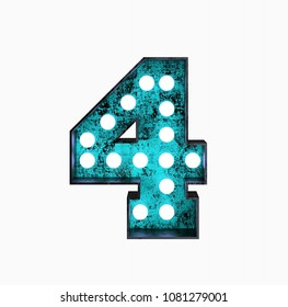 Fluorescent Blue Neon Font. Number 4. Night Show Alphabet. 3d Rendering Isolated on White Background.