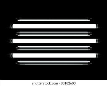 Fluorescent lamp 3d model on black background