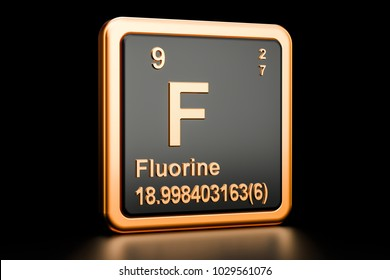Fluorine F, chemical element. 3D rendering isolated on black background