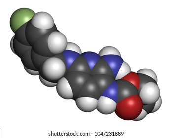 Flupirtine analgesic drug molecule. 3D rendering. Atoms are represented as spheres with conventional color coding: hydrogen (white), carbon (grey), nitrogen (blue), oxygen (red), etc
