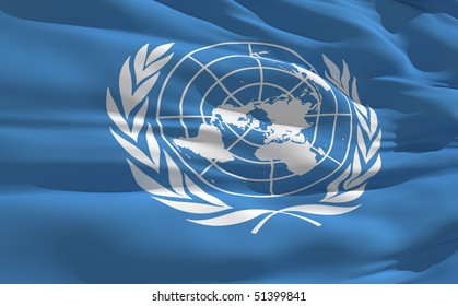 Fluttering flag of United Nations on the wind