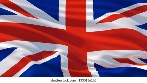 Fluttering silk flag of United Kingdom. Union Jack in the wind, colorful background
