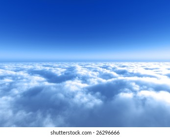 Fly high above the white cloud