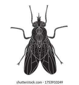 Fly insect silhouette. Fly sketch a tattoo. Doodle style. Modern design. illustration