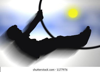 Fly me to the moon : Illustration of a young man swinging himself up towards the sky as if reaching for the moon