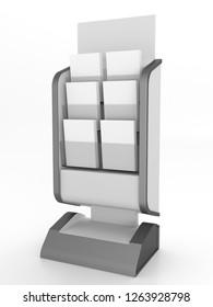 Flyer, Brochure Magazine Dispenser Stand. Hplder With Leaflets. 3D render