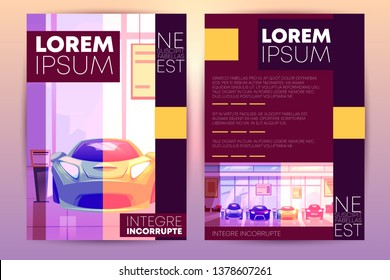 flyer with car showroom - new auto dealership. Brochure with hall with shop window, glass showcase. Urban business, sale of vehicles, car rental agency interior. Template for ad poster, banner