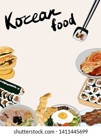 Flyer design with set of Korean dishes. Traditional Korean dishes bibimbap, hotteok, kimchi, oden, galbi-gui, guksu, gimbap. hand drawn illustration.