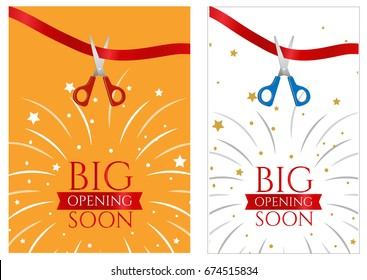 Grand opening banner design template ribbon stock vector royalty flyer grand opening of the store fireworks and the words big opening soon m4hsunfo