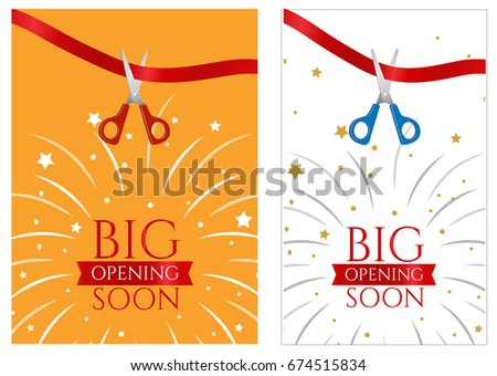 Flyer Grand Opening Store Fireworks Words Stock Illustration