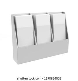 Flyer holder box template for customisation .3d illustration
