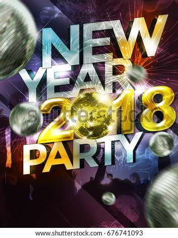fly er template invitation happy new year 2018 party celebration poster blank