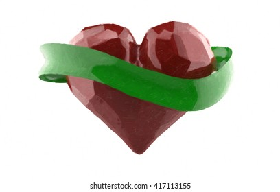 Flying 3d red chopped heart with green rubbon. Copyspace for text