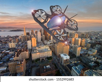 Flying Сar,  Aircraft Flying Above The Cityscape, Future Car 3d Concept, Futuristic Vehicle In The City, Air Car, 3D Rendering