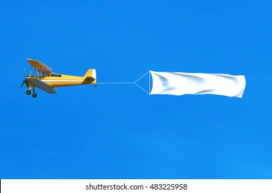 Flying airplane and banner on blue sky. 3D illustration