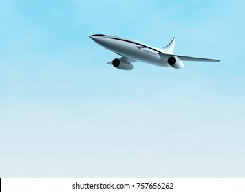 Flying airplane. Concept of supersonic jet aircraft. 3d rendering illustration.