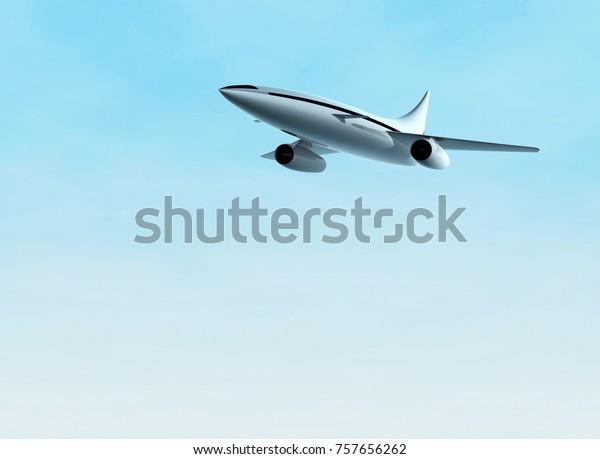 Avion volant. Concept d'avion à réaction supersonique. Illustration 3d.