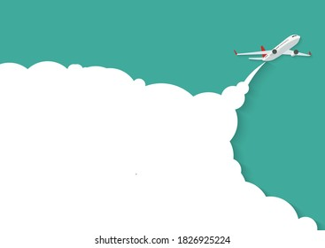 Flying airplane with place for text.  Illustration