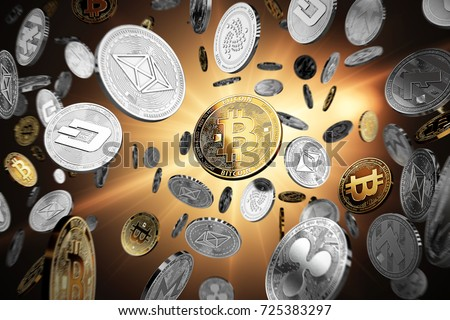 Flying altcoins with Bitcoin in the center as the leader. Bitcoin as most important cryptocurrency concept. 3D illustration
