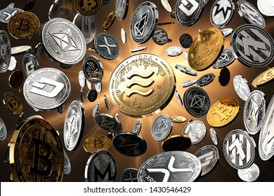 Flying altcoins with Libra concept coin in the center as probably new the most popular cryptocurrency. Golden starburst background - 3D rendering