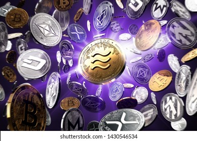 Flying altcoins with Libra concept coin in the center as probably new the most popular cryptocurrency. Violet starburst background - 3D rendering