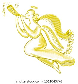 Flying angel with trumpet. Musical character illustration. Bright festive golden, yellow, white colors. New year, Christmas design, print, cover, surface, banner, Easter, birthday card. Playing angel
