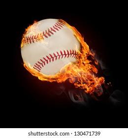 Flying baseball ball on fire - flying up