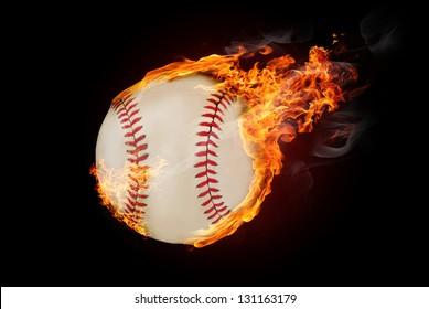 Flying baseball ball on fire - flying down