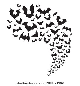 Flying bats flock. Creepy halloween bat fly from cave. Scary nocturnal animal spooky vampire silhouette at sky horizontal divider, autumn decoration for october night party  illustration