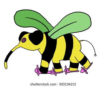 flying bee in shoes