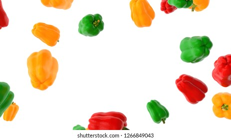 flying bell peppers on white background 3d rendering