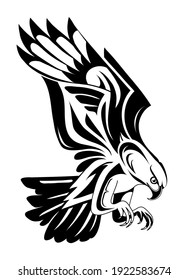 Flying bird of prey tattoo shape. Suitable for eagle, falcon and hawk tattoo.