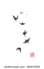 Flying birds Japanese style original sumi-e ink painting. Hieroglyph featured means sincerity. Great for greeting cards or texture design.